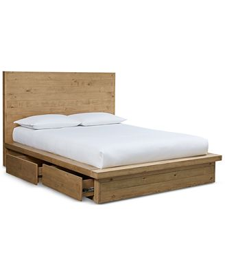 Queen Platform Bed Frames abilene solid pine storage queen platform bed, created for macy's