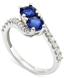 Sapphire (1 ct. t.w.) and Diamond (3/8 ct. t.w.) Twist Ring in 14k White Gold