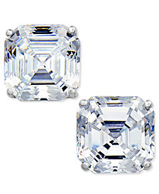 Arabella Swarovski Zirconia Asscher Stud Earrings in 14k White Gold, Created for Macy's