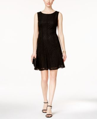 black lace a line dress