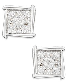 Diamond Accent Square Stud Earrings in 10k White, Yellow or Rose Gold