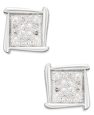 Macy S Diamond Accent Square Stud Earrings In 10k White Yellow Or
