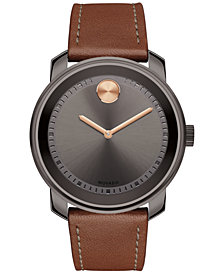 Movado Men's Swiss Bold Cognac Leather Strap Watch 43mm 3600378