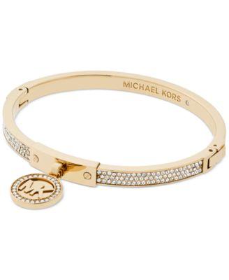 Michael Kors Logo Pav Hinged Bangle Bracelet Jewelry Watches