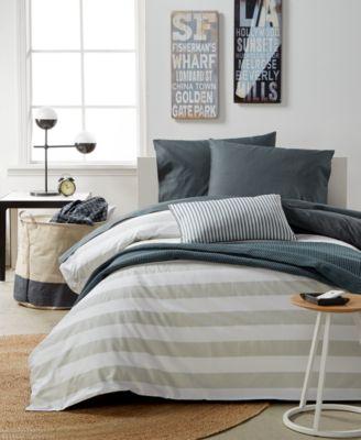 For Macy's Gray Stripe 9-Pc. Full/Queen Duvet Boxed Room