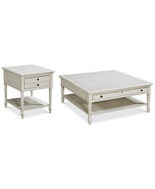Sag Harbor White Table Collection 2-Pc. Set (Lift Top Cocktail Table & End Table)
