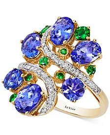 Crazy Collection® Tanzanite (3-3/4 ct. t.w.), Tsavorite (3/8 ct. t.w.) and Diamond (1/5 ct. t.w.) Cluster Ring in 14k Gold, Created for Macy's