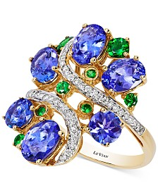 Le Vian Crazy Collection® Tanzanite (3-3/4 ct. t.w.), Tsavorite (3/8 ct. t.w.) and Diamond (1/5 ct. t.w.) Cluster Ring in 14k Gold, Created for Macy's