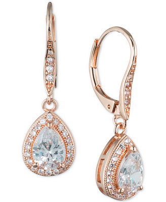 Anne Klein Teardrop Crystal and Pavé Drop Earrings ...