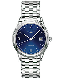 Longines Men's Swiss Automatic Flagship Stainless Steel Bracelet Watch 39mm L48744966