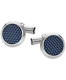 Unisex Meisterstück Classic Stainless Steel with Blue Lacquer Inlay Cuff Links 112904