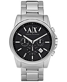 A|X Armani Exchange Watch, Men's Chronograph Stainless Steel Bracelet 45mm AX2084