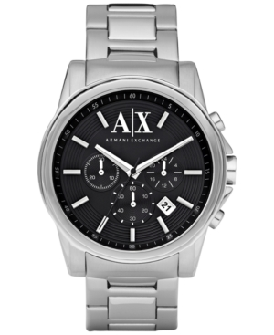 AX Armani Exchange Watch, Men's Chronograph Stainless Steel Bracelet 45mm AX2084