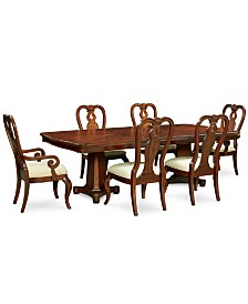 Bordeaux Double Pedestal 7-Pc. Dining Set (Dining Table, 4 Queen Anne Side Chairs & 2 Queen Anne Arm Chairs)
