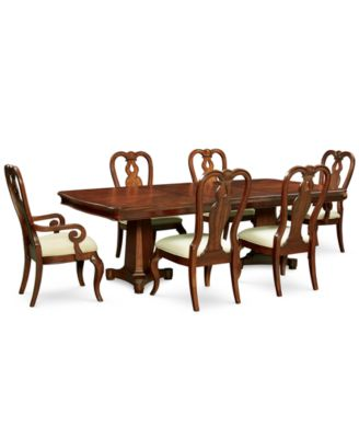 Bordeaux Double Pedestal 7 Pc. Dining Set (Dining Table, 4 Queen Anne