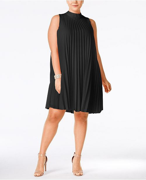 Soprano Plus Size High Neck Pleated Shift Dress Dresses Plus