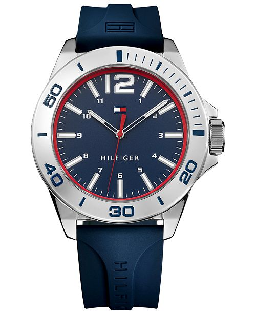 Tommy Hilfiger Men's  Blue Silicone Strap Watch 45mm , Created for Macy's