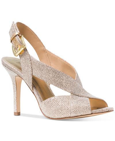 Womens Michael Kors Becky White Silver Metallic Sandals Z51712