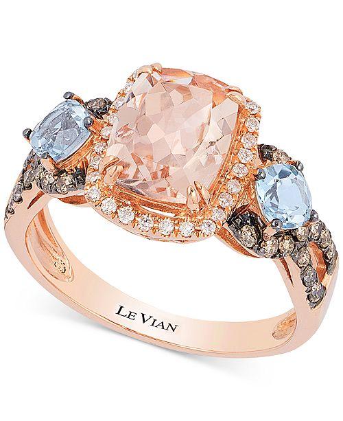 Le Vian Chocolatier® Peach Morganite® (1-1/2 ct. t.w.), Aquamarine (1/2 ct. t.w.) and Diamond (1/3 ct. t.w.) Ring in 14k Rose Gold