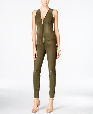 Guess Maxine Ripped Zip Up Denim Jumpsuit Pants Women