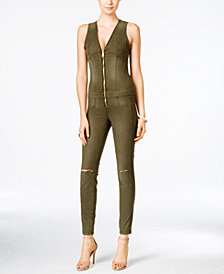 GUESS Maxine Ripped Zip-Up Denim Jumpsuit