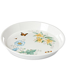 Lenox Butterfly Meadow Collection Melamine Large Round Handled Tray