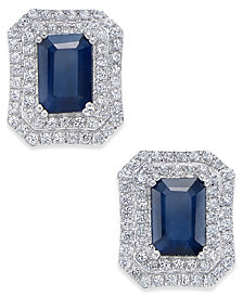 Blue Sapphire (3 ct. t.w.) and White Sapphire (1 ct. t.w.) Rectangular Stud Earrings in 14k White Gold