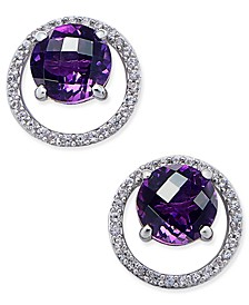 Gemstone (1-1/2 ct. t.w.) and Diamond (1/6 ct. t.w.) Round Halo Birthstone Stud Earrings in Sterling Silver