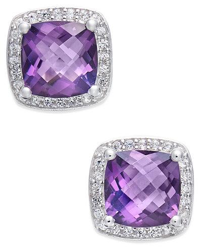Amethyst (1-3/4 ct. t.w.) and Diamond (1/8 ct. t.w.) Halo Stud Earrings in Sterling Silver