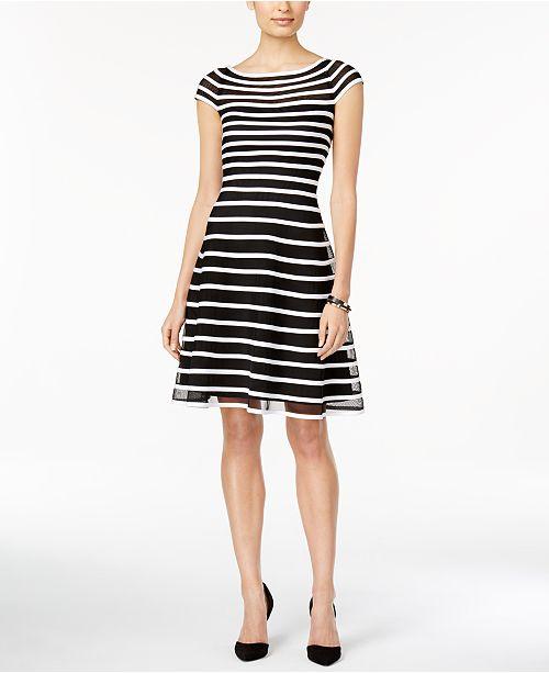 Betsy   Adam Cap-Sleeve Striped Fit   Flare Dress - Dresses - Women ... 74acc43b5