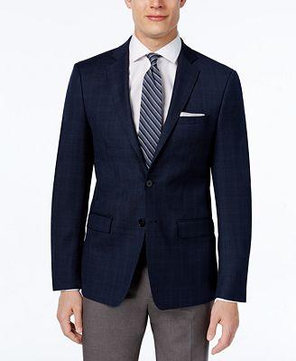 Calvin Klein Men's Slim-Fit Navy Plaid Sport Coat - Blazers ...