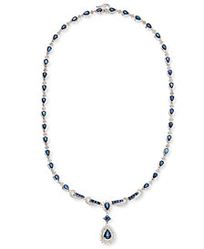 Sapphire (13-1/2 ct. t.w.) and Diamond (1-1/5 ct. t.w.) Collar Necklace in 14k White Gold