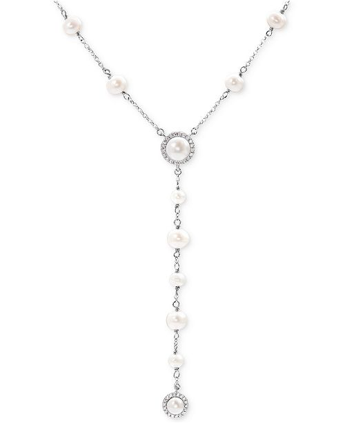 Arabella Cultured Freshwater Pearl (4-8mm) and Swarovski Zirconia Lariat Necklace in Sterling Silver