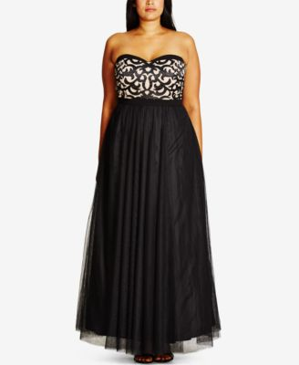 City Chic Plus Size Lace Strapless Gown