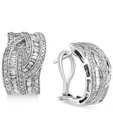 Classique by EFFY® Diamond Interwoven Hoop Earrings (1-3/8 ct. t.w.) in 14k Gold & White Gold