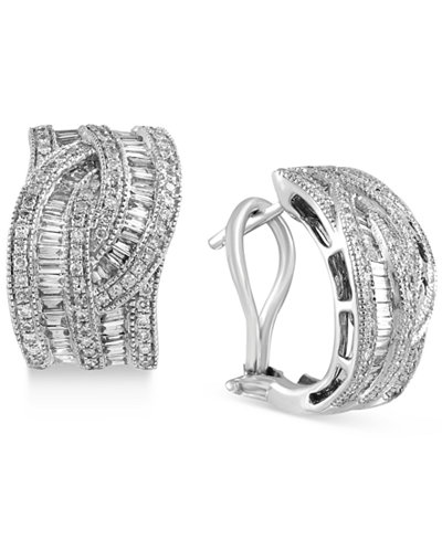Classique by EFFY Diamond Interwoven Hoop Earrings (1-3/8 ct. t.w.) in 14k Gold & White Gold