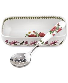 Portmeirion 2-Pc. Botanic Garden Cranberry Dish & Slotted Spoon