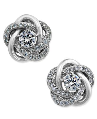 Image of Giani Bernini Cubic Zirconia Love Knot Stud Earrings in Sterling Silver and 18k Gold-Plated Sterling
