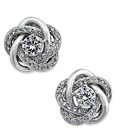 Cubic Zirconia Love Knot Stud Earrings in Sterling Silver and 18k Gold-Plated Sterling Silver, Created for Macy's