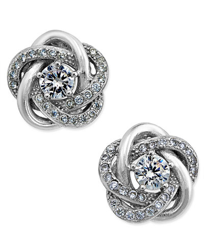 47b660f30762fe Giani Bernini Cubic Zirconia Love Knot Stud Earrings in Sterling Silver and 18k  Gold-Plated
