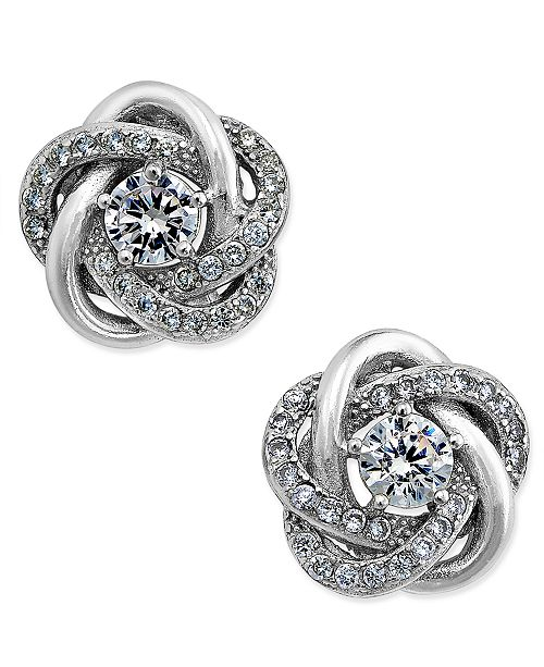 b1bd57baffc0d Cubic Zirconia Love Knot Stud Earrings in Sterling Silver and 18k  Gold-Plated Sterling Silver, Created for Macy's
