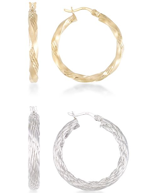 Macy's 2-Pc. Set Rope and Satin Finish Round Hoop Earrings in 14k Yellow and White Gold Plated Sterling Silver