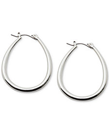 Lauren Ralph Lauren Silver-Tone Teardrop Hoop Earrings