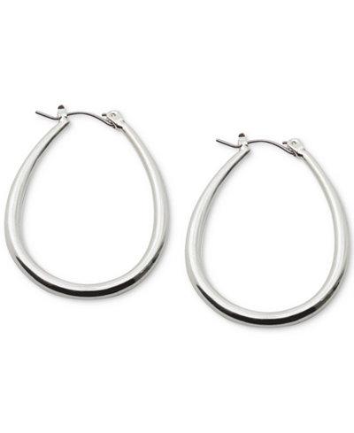 Lauren Ralph Silver Tone Teardrop Hoop Earrings