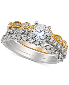 Diamond Three- Piece Bridal Set (1 ct. t.w.) in 14k White and Yellow Gold