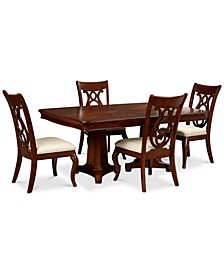 Closeout! Bordeaux Double Pedestal 5-Pc. Dining Set (Dining Table & 4 Side Chairs)