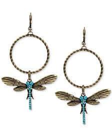 Extra Large Gold-Tone Blue Crystal Dragonfly Gypsy Hoop Earrings