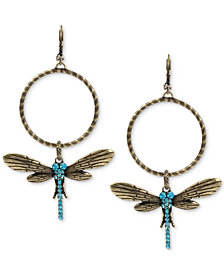 Betsey Johnson Gold-Tone Blue Crystal Dragonfly Gypsy Hoop Earrings