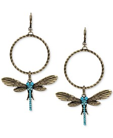 Betsey Johnson Extra Large Gold-Tone Blue Crystal Dragonfly Gypsy Hoop Earrings