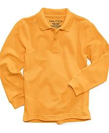 Long-Sleeve School Uniform Polo, Little Boys